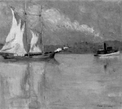 tugboat towing a sailboat down a river by anna s fisher