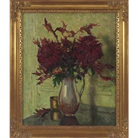 dark red chrysanthemums by edward barnard lintott