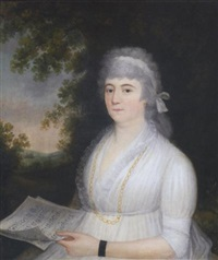 portrait of a lady with music sheets by ralph earl