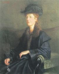 portrait einer blonden dame mit lorgnon by karl jobst