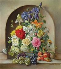 blumenstilleben mit früchten in altmeisterlicher manier by franz leitgeb