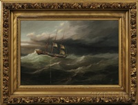 clipper ship in rough sea with approaching storm by herman r. dietz