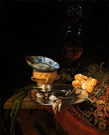 stilleben mit silberteller porzellanschale und hohem glaspokal by simon luttichuys