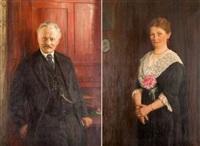 ehegattenportraits (pair) by friedrich wilhelm kricheldorff