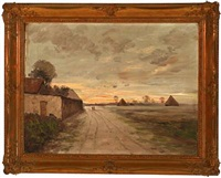 landscape with houses in sunset by paul morizet
