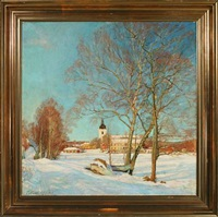 norwegian winter landscape with a church and houses by theodor fabricius