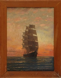 full rigged ship under sunset skies by william formby halsall