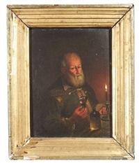 alter mann mit weinglas und einer kerze auf dem tisch( + alte frau mit einer kerze in der linken hand, das licht abdeckend; pair) by anna dorothea lisiewski