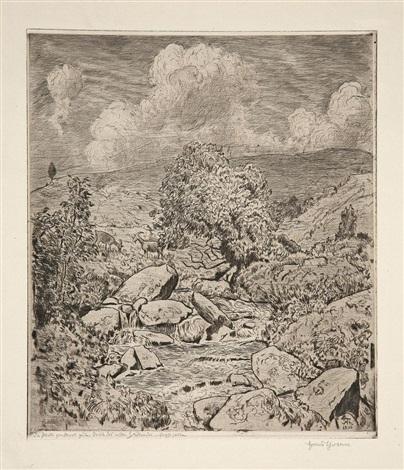 schwarzwaldbach mit wolken by hans thoma