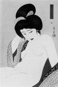 halbporträt einer sitzenden nackten frau nach dem bade, pl.1 by ohira kasen