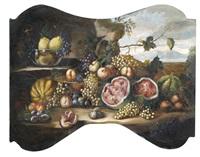 zwei supraporten mit früchtestilleben vor landschaftshintergrund (pair) by anonymous-italian (18)