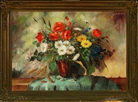 still life with field flowers in a copper bucket by carl h. fischer
