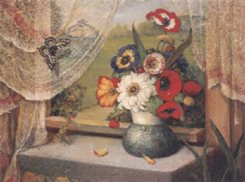 bunter blumenstrauß in jugendstilvase by carl massmann