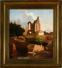 italian ruin scenery by heinrich buntzen