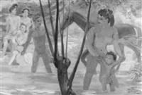 badende mit pferden by max-emanuel huber