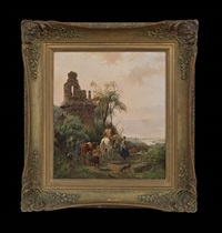landscape with shepherds and cattle, amongst ruins by jan van ravenswaay