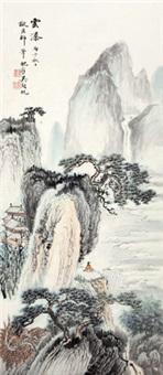 云瀑图 立轴 设色纸本 by wu hufan