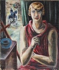 woman in red dress, rider in the background by yngve anderson