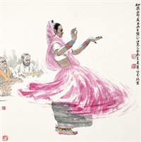 仙姿 镜心 设色纸本 (painted in 2005 dancing) by liu chunhua