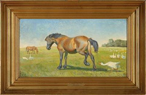 grazing horses and geese by karl frederik christian hansen reistrup