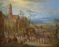 jahrmarktstreiben vor der kirche; bauerntanz vor der herberge (pair) by franz christoph janneck