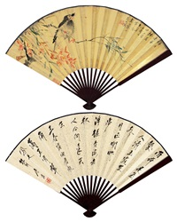 桃花八哥 行书 (peach blossom and bird, calligraphy) (recto-verso) by tang yun and jiang hanting
