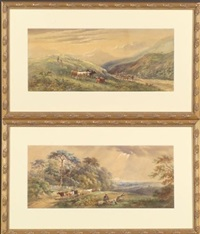bucolic scene (+ another, similar; 2 works) by henry (sr.) earp