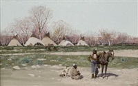 indian encampment by henry f. farny