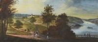 pastoralt landskap med staffage i herrgårdsmiljö by carl peter hillestrom