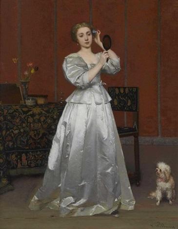 dame mit hündchen im salon by florent willems