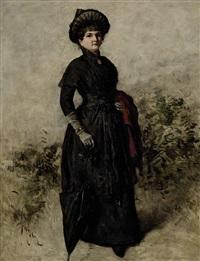 bildnis einer dame in schwarzem kleid by emmanuel spitzer