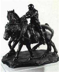 laboureur et deux chevaux de trait by e. bastin