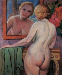 镜前裸女 (nude in front of mirror) by pan yuliang