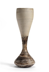 a stoneware hourglass form vase by hans coper