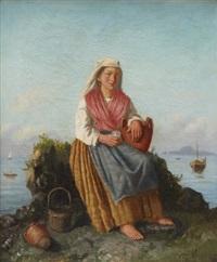 sittande kvinna vid kust by gustaf wilhelm palm