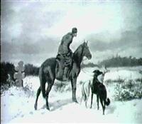 reiter mit zwei windhunden in winterlandschaft by jakob marianus jaroszynski
