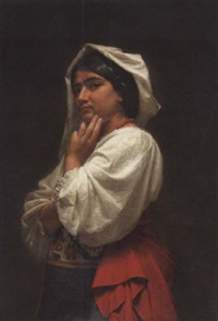 junge zigeunerin in tracht by vilhelm (johan v.) gertner