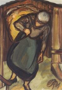 bäuerin ein heubündel tragend by oswald kollreider