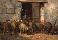shepherd with flock near a barn by raymond desvarreux-larpenteur