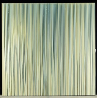 poured lines: cream, yellow, beige, dark blue lines by ian davenport