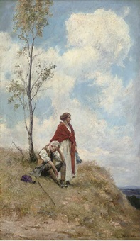 figures on a hillside, a summer's day by george edward robertson