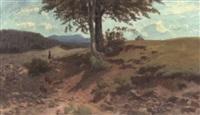 sommerliche mittelgebirgslandschaft mit staffagen by richard fresenius