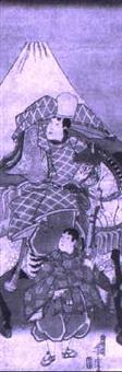 der dichter ariwara no narihira im exil auf seinem pferd vor dem fuji by utagawa yoshitora