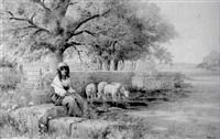 schäferin mit herde an einem brunnen by paolo folchi