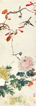 秋菊鸣禽 立轴 纸本 by jiang hanting