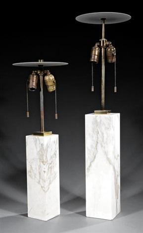Two T.h. Robsjohn Gibbings For Hansen Marble Table Lamps By T.h.  Robsjohn Gibbings