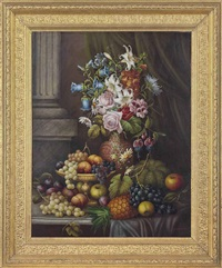 flowers in a vase, grapes, pineapple, apples, and plums on a stone ledge by e. steele