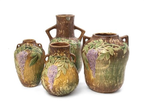 Vases In Wisteria Pattern 4 Works By Roseville Pottery Company On Artnet