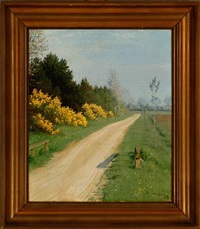 sunny landscape with blooming flowers by a country road by valdemar holger v. rasmussen magaard