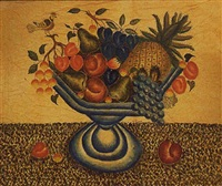 a compote holding fruit, with a bird perched on a broken branch by bill rank